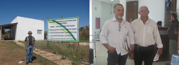 À esquerda, Lucio visita instalações; à direita, representante da Unisol junto do presidente da Coopercint, Benedito de Faria