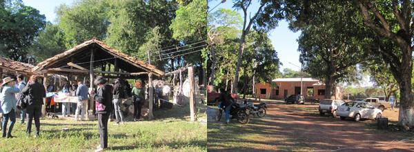 À esquerda, imagem da visita à Associação; à direita, a imagem da nova sede em construção