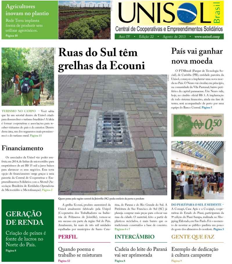 Capa da edição número 22 do Jornal da Unisol Brasil