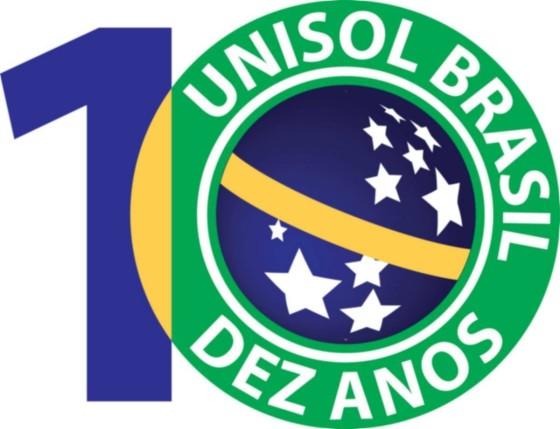 logotipo unisol brasil 10 anos