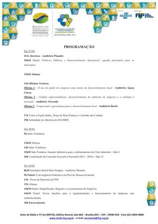 Programação evento Encontro Municípios BSB