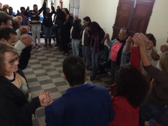 Oficina de planejamento momento de dinâmica com as mulheres das comunidades