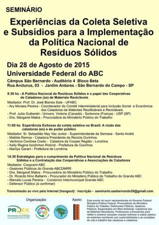Arte evento 28 08 2015 Experiências da Coleta Seletiva e Subsídios para a Implementação da Política Nacional de Resíduos Sólidos